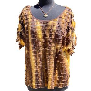Brown and Tan blouse by NY Collection